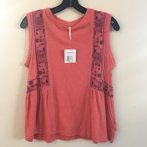 Free People Marcy boho tank embroidered red